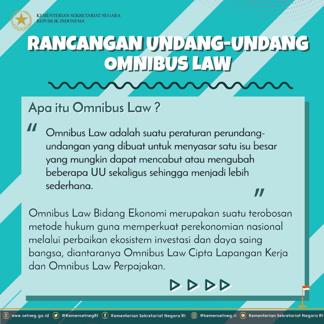 Omnibus Law Strategi Akselerasi Peningkatan Investasi Dan Indonesia Maju Sekretariat Negara